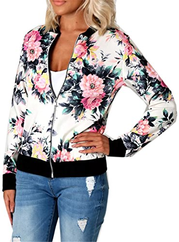 Recious Womens Long Sleeve Floral Printed Zip Up Biker Bomber Quilted Lightweight Jackets Coats  ...