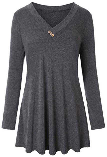 Refasy Womens V Neck Long Sleeve Loose Tunic Top and Plaid Hoody with Pocket grey
