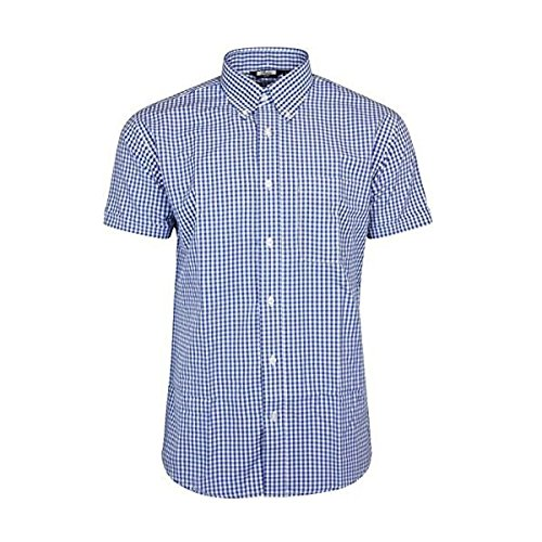 Relco Blue & White Gingham Check Retro Button Down Short Sleeve Shirt