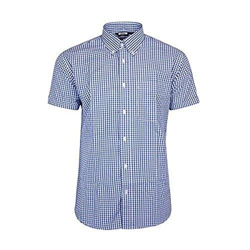 Relco Blue & White Gingham Check Retro Button Down Short Sleeve Shirt