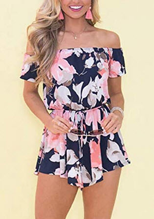 Relipop Fashion Women's Summer Floral Off Shoulder Romper Jumpsuit type 2