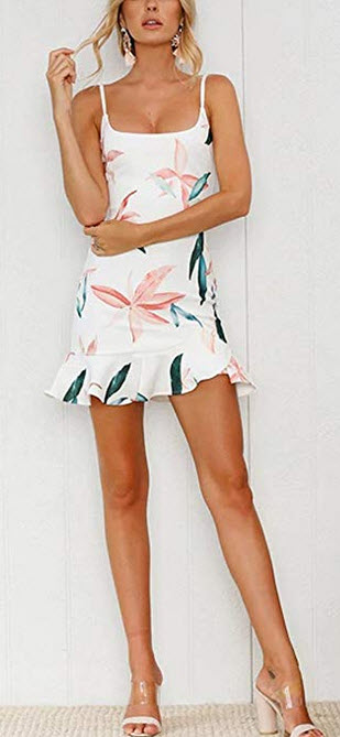 Relipop Summer Women Casual Dress Sleeveless Mini Floral Short Dresses white