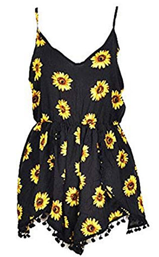 Relipop Women Summer Floral Romper Casual Sleeveless Party Evening Mini Jumpsuit, black