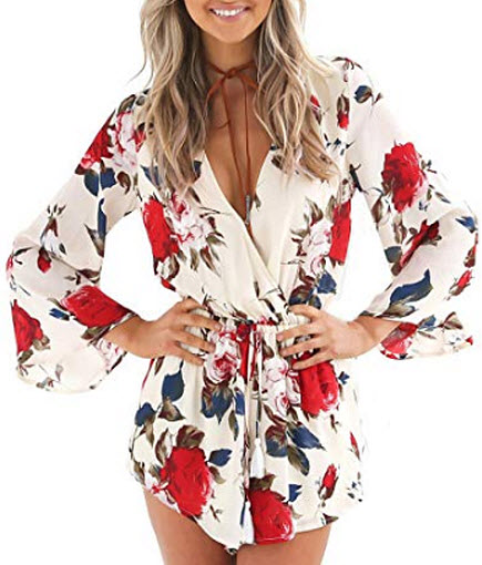Relipop Women's Floral Print Long Sleeves Short Romper Playsuit Jumpsuit, red