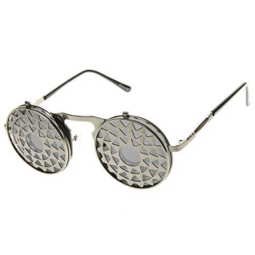 Retro Steampunk Metal Flip-Up Star Burst Oculus Round Sunglasses by zeroUV