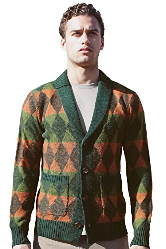REVOLUTION NOW Sweater Men's Knitted Shawl Collar Plaited Diamond Pattern Cardigan Sweater