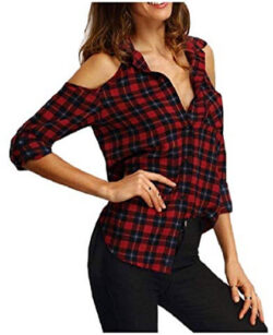 RingBong Womens Cold Shoulder Lapel Button Down Plaid Sexy Blouse Shirt
