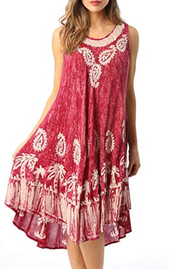 Riviera Sun Batik Marble Tie Dye Summer Dress Beach Cover up, coral