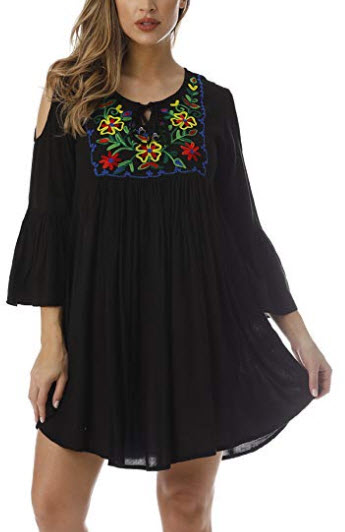 Riviera Sun Cold Shoulder Floral Embroidered Casual Dress, black