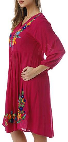 Riviera Sun Floral Embroidered 3/4 Sleeve Button Front Empire Waist Dress, fuchsia