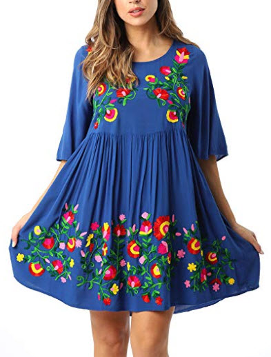 Riviera Sun Rayon Crepe Short Dress with Multicolored Embroidery, royal