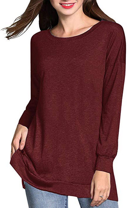 RJXDLT Women's Fall Long Sleeve Side Split Tunic Tops Loose Soft Casual Pullover wine red