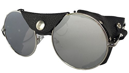 Road Vision Round Lens Motorcycle Sunglasses (Chrome Frames, Flat Lens Mirror)