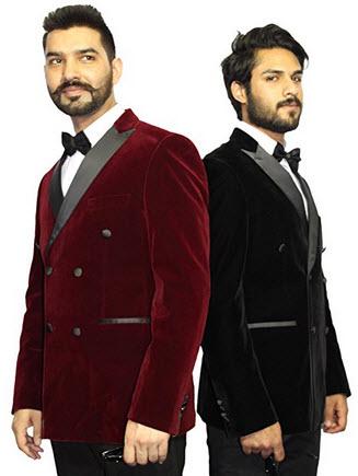 Robelli Men's Velvet Double Breasted Blazer Suit Jacket.