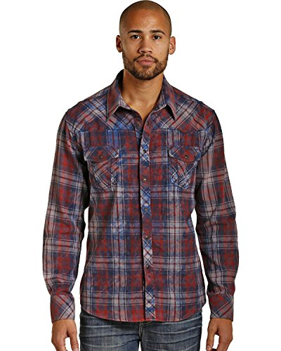 Rock & Roll Cowboy Men's and Bleached Wash Flannel Plaid Snap Shirt