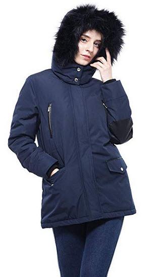Rokka&Rolla Women's Lined Hooded Parka Jacket Coat with Removable Faux Fur Hood Trim b ...