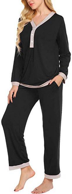 Romanstii Women Modal Maternity & Nursing Pajamas Set for Breastfeeding(with Hidden Maternit ...