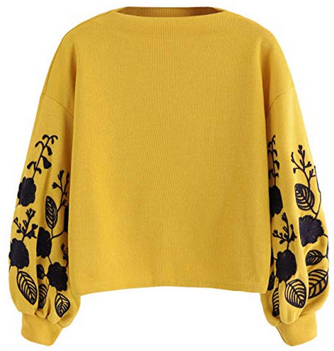 Romwe Women's Bishop Sleeve Floral Embroidered Sweatshirt Casual Pullover Top ginger