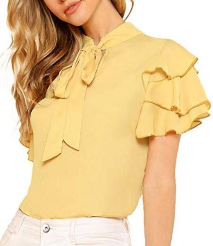 Romwe Women's Bow Tie Neck Ruffle Short Sleeve Casual Work Chiffon Blouse Tops, yellow
