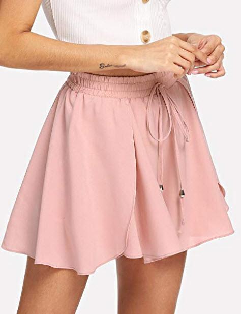 Romwe Women's Casual Tie Knot Summer Shorts Elegant Walking Shorts, pink, drawstring