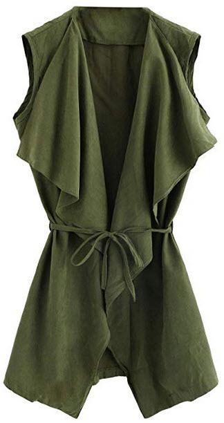 Romwe Women's Casual Waterfall Collar Wrap Self Tie Sleeveless Autumn Coat army green