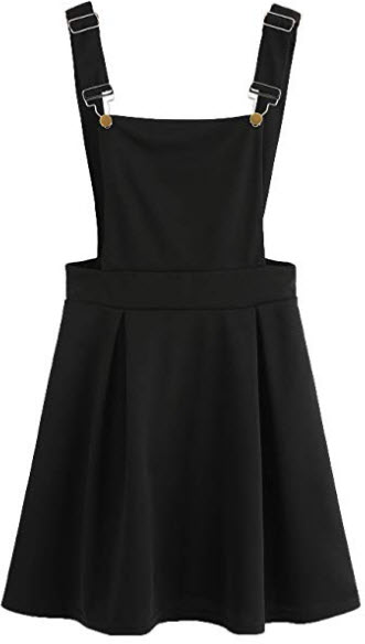Romwe Women's Cute A Line Adjustable Straps Pleated Mini Overall Pinafore Dress, black