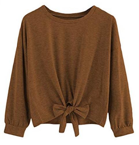 Romwe Women's Cute Knot Front Drop Shoulder Round Neck Long Sleeve T-Shirt Crop Top Blouse ...
