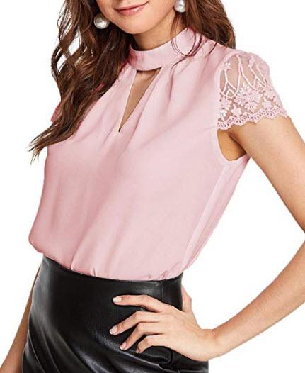 Romwe Women's Elegant Lace Short Sleeve Sexy Keyhole Blouse Shirt, pink