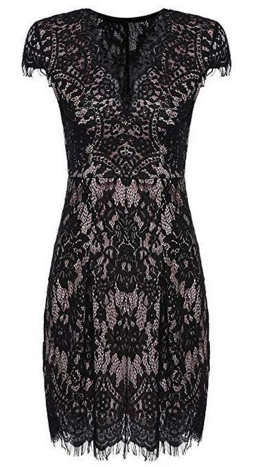 Romwe Womens Gorgeous V Neck A Line Sexy Short Cap Sleeve Lace Dress black