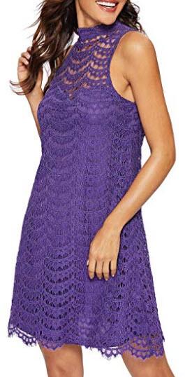 Romwe Women's Lace Sleeveless A Line Elegant Cocktail Evening Party Dress, purple