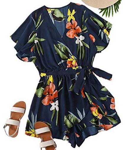 Romwe Women's Plus Size Floral Print Loose V Neck Romper Belted Short Jumpsuit Navy