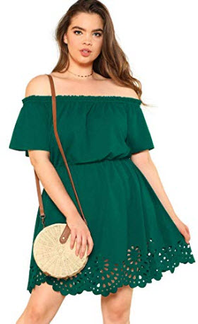 Romwe Women's Plus Size Off The Shoulder Hollowed Out Scallop Hem Party Short Dresses, green