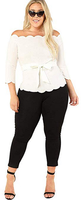 Romwe Womens Plus Size 3/4 Sleeve Off The Shoulder Top Scalloped Peplum Blouse with Belte white