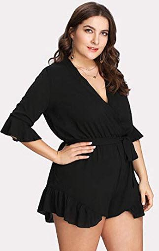 Romwe Women's Plus Size V Neck Wrap Tie Waist Shorts Casual Rompers Jumpsuit, black