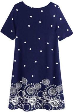 ROMWE Women's Short Sleeve Floral Print Loose Casual Tunic Swing Summer Shift Dress