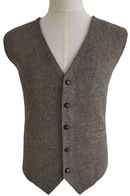 RONGKIM Men's Brown Wool Herringbone Groom Vest Formal Groom's Wear Suit for Wedding Waistcoat