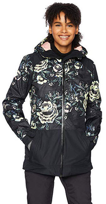 Roxy Womens Torah Bright Snowflake Snow Jacket True Black_torahs Roses