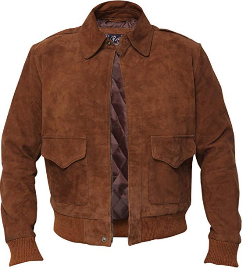 RSH LeathercraftA2 Suede Brown Bomber Sheepskin Leather Aviator Flight Jacket