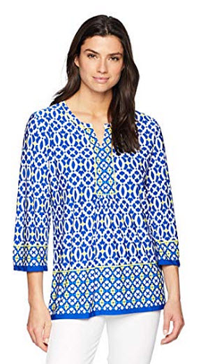 Ruby Rd. Women's Printed Ity Knit Tunic Top, baltic blue, multi