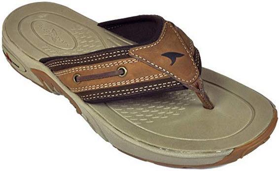 Rugged Shark Bimini Premium Flip Flop Sandal for Men, Lightweight, Brown, Size 8 to 13