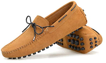 Ruiatoo Men's Driving Penny Loafers Suede Leather Casual Loafer Slip On Dress Boat Shoes l ...