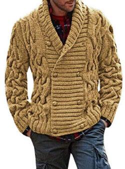 Runcati Mens Cardigan Sweater Casual Shawl Collar Striped Cable Knit Jacket Coat, khaki