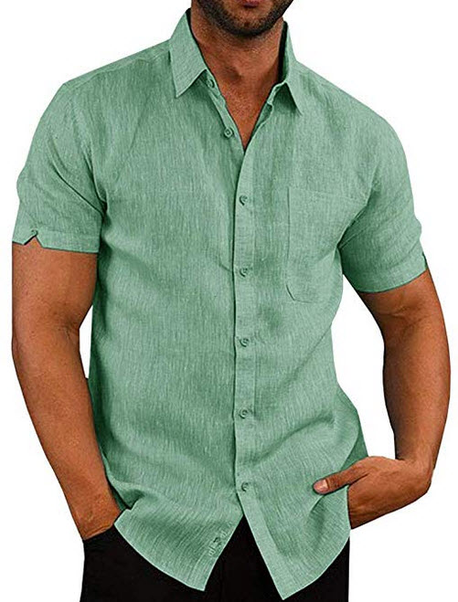 Mens Short Sleeve Shirts Button Down Tops Fishing Tees Spread Collar Plain Summer Blouses green