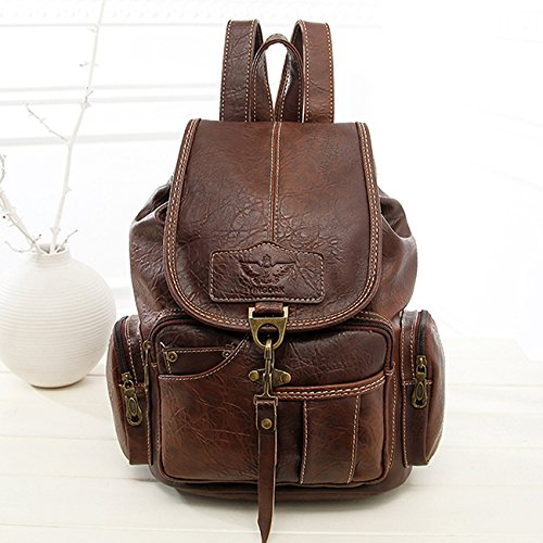 Rurah Casual Fashion School Leather Backpack