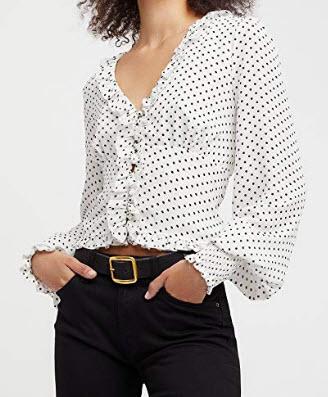 R.Vivimos Women's Chiffon Polka Dot Blouse Ruffle Lantern Sleeve Vintage Buttons Shirt Top ...