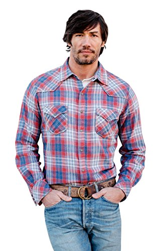 Ryan Michael Frost Jaspe Flannel Plaid Shirt Bucking Horse Snaps & Rope Stitches