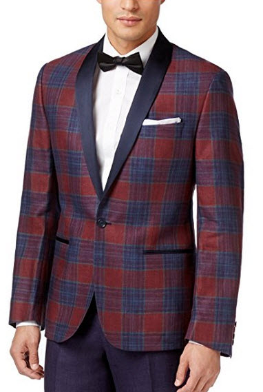 Ryan Seacrest Red and Blue Tartan One Button Linen New Men's Tuxedo Blazer.