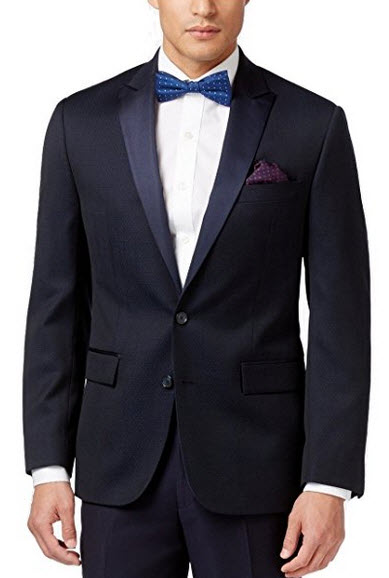 Ryan Seacrest Slim Fit Navy Dot Two Button Wool New Men's Sport Coat.