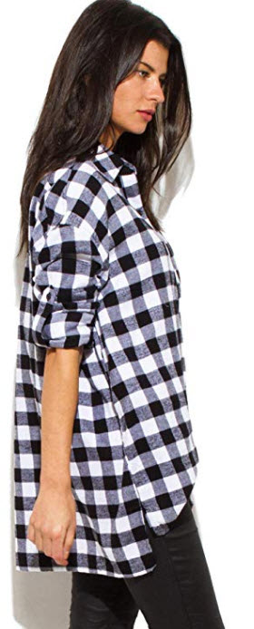 S & A Women's Plaid Flannel Cotton Oversized Button-Down Boyfriend Shirts black