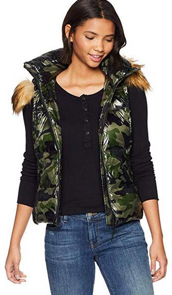 S13 Womens Camo Snowcat Hip Length Down Puffer Vest Faux Fur Hood green camouflage